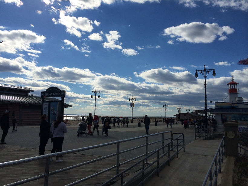 Along the boardwalk at Coney Island about 2pm.